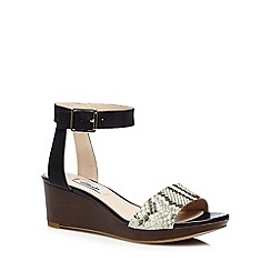 Clarks - Black 'Ornate Jewel' leather snake effect wedge sandals