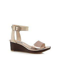Clarks - Gold 'Ornate Jewel' leather mid wedges