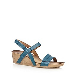 Clarks - Dark turquoise 'Alto Gull' leather mid wedge sandals