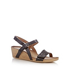 Clarks - Black 'Alto Gull' patent mid wedge sandals