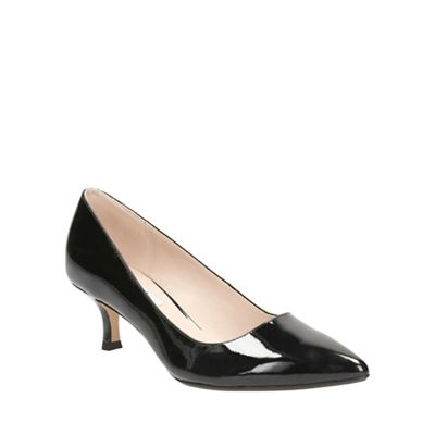 Clarks Black patent Aquifer Soda kitten low heeled court