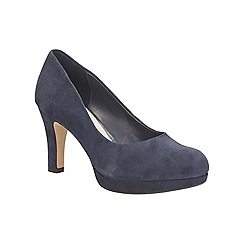 Clarks - Navy suede Crisp Kendra high heeled court shoe