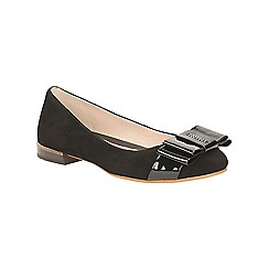 Clarks - Black suede Festival Game flat bow detail pump