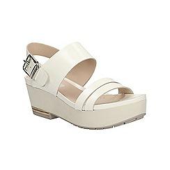 Clarks - White Perez Glitter flat form sandal