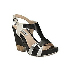 Clarks - Black combi Rosalie Petal high wedge t-bar sandal