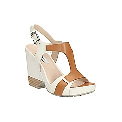 Clarks - Tan combi leather Rosalie Petal high wedge t-bar sandal