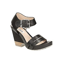 Clarks - Black leather Rosalie Pose high wedge sandal