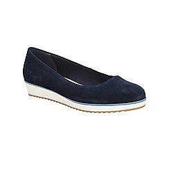 Clarks - Navy suede Compass Zone flat pump