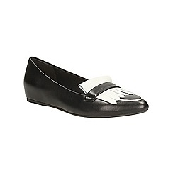 Clarks - Black White leather Coral Reef flat shoe
