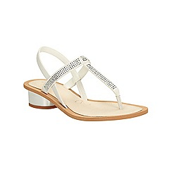 Clarks - White combi leather Sandcastle Top low heeled toe post sandal