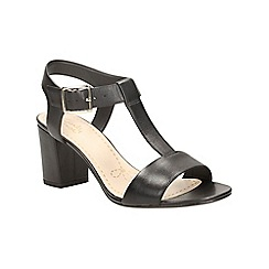 Clarks - Black leather Smart Deva high heeled sandal