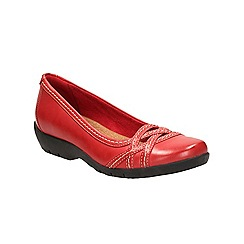 Clarks - Red leather Ordell Tessa flat casual shoe