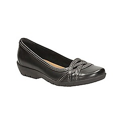 Clarks - Black leather Ordell Tessa flat casual shoe