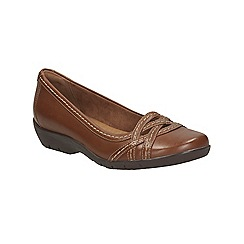 Clarks - Tan leather Ordell Tessa flat casual shoe
