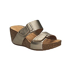 Clarks - Gold Metallic Temira East Mid wedge sandal