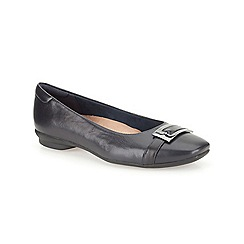 Clarks - Navy leather Candra Glare  flat buckle detail pump