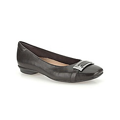 Clarks - Black leather Candra Glare flat buckle detail pump
