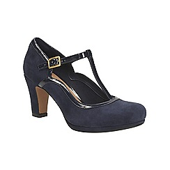 Clarks - Navy suede Chorus Tempo Mid heeled t-bar court shoe