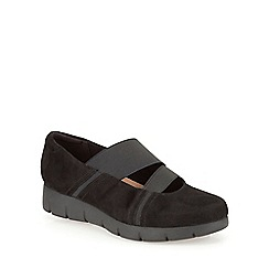 Clarks - Black suede Daelyn Villa slip on flat form shoe