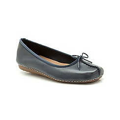 Clarks - Navy leather Freckle Ice flat pump