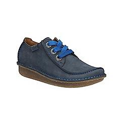 Clarks - Navy nubuck Funny Dream flat lace up shoe