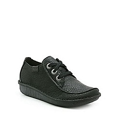 Clarks - Black leather Funny Dream flat lace up shoe