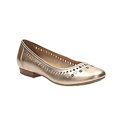 Clarks - Gold leather Henderson Hot flat pump with cut out detail