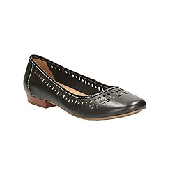 Clarks - Black leather Henderson Hot flat pump with cut out detail