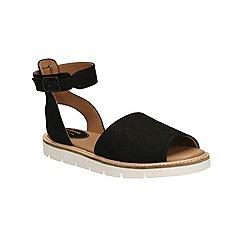 Clarks - Black nubuck Lydie Hala flat sandal