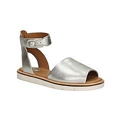 Clarks - Silver leather Lydie Hala flat sandal