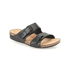 Clarks - Black leather Perri Island flat slip on sandal