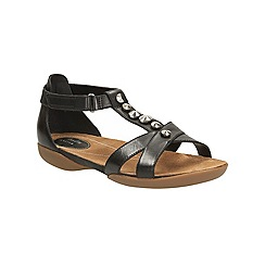 Clarks - Black leather Raffi Scent flat t-bar sandal