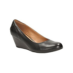 Clarks - Black leather Brielle June Mid heeled wedge shoe