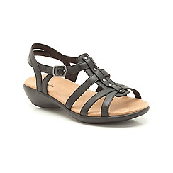 Clarks - Black leather Roza Jaida low heeled strappy sandal