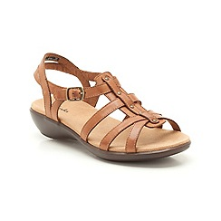 Clarks - Tan leather Roza Jaida low heeled strappy sandal