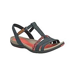 Clarks - Navy nubuck Tealite Grace flat sporty sandal