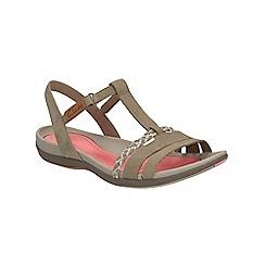 Clarks - Stone nubuck Tealite Grace flat sporty sandal