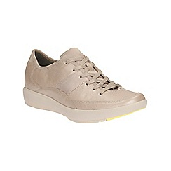 Clarks - khaki leather Wave Flare lace up sport shoe
