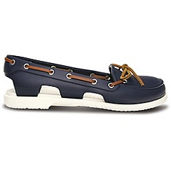 Crocs - Beach line boat shoe in navy and white