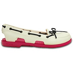 Crocs - Beach line boat shoe in white and candy pink