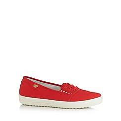 Hotter - Red canvas lace up slip on shoes