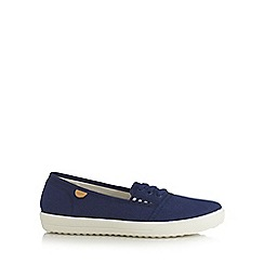 Hotter - Navy canvas lace up slip on shoes