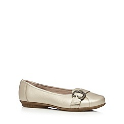 Hotter - Light gold leather buckle trim shoes