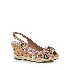 Hotter - Pink floral wedge high sandals
