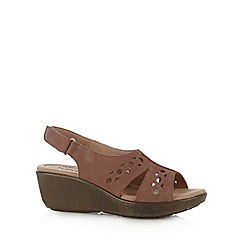Hotter - Brown leather cutout mid sandals