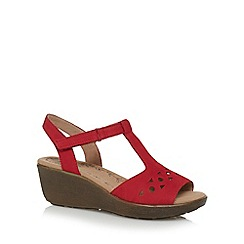 Hotter - Red suede T-bar mid wedge heel sandals