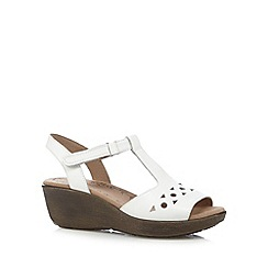 Hotter - White leather cutout mid sandals