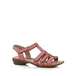 Hotter - Pink leather rip tape sandals