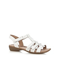 Hotter - White leather rip tape cutout flip flops