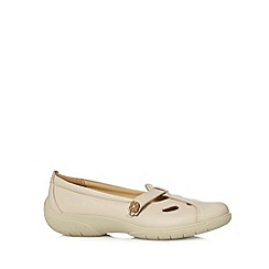Hotter - Beige leather button strap shoes
